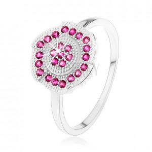 Ezüst 925 gyűrű, gravírozott virág rózsaszín cirkóniákkal díszítve
