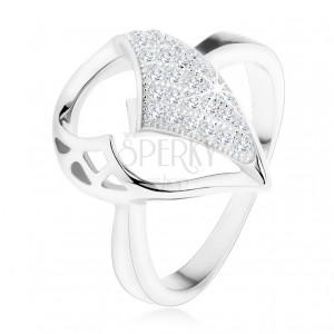 Ezüst 925 gyűrű, nagy könnycsepp aszimmetrikus kivágással, cirkónia rész