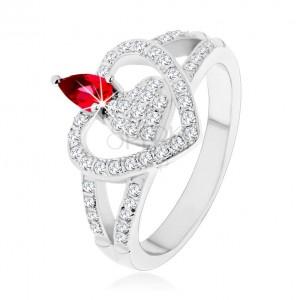 Ezüst 925 gyűrű, két tiszta cirkónia szív, ragyogó rózsaszín kő