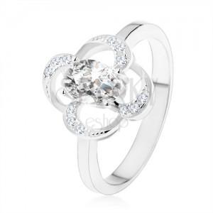Gyűrű 925 ezüstből, ragyogó virág körvonal ovális tiszta cirkóniával