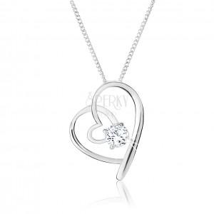 Nyaklánc 925 ezüstből, keresztezett szív körvonalak, tiszta cirkónia