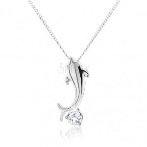 925 ezüst nyaklánc, kis fényes delfin, csiszolt tiszta cirkónia