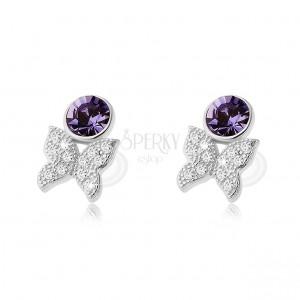 Fülbevaló 925 ezüstből, lila cirkónia és kis ragyogó pillangó