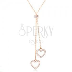 925 ezüst nyakék réz színben, két szív kontúr láncokon