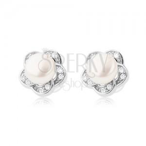 Bedugós fülbevaló 925 ezüstből, tiszta cirkónia virág és fehér gyöngy