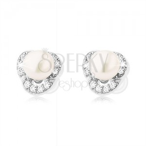 925 ezüst fülbevaló, három átlátszó cirkóniás félhold, fehér gyöngy