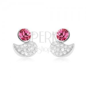 925 ezüst fülbevaló, csillogó kacsa, kerek rózsaszín cirkónia
