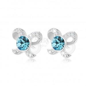 925 ezüst fülbevaló, csillogó masni, kerek cirkónia kék színben