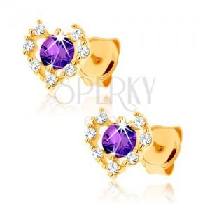 375 arany fülbevaló - átlátszó cirkóniás szív körvonal, lila ametiszt
