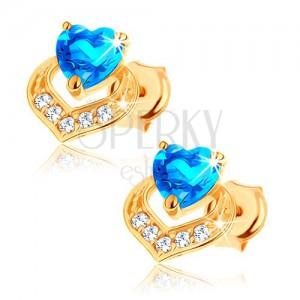 Fülbevaló 9K sárga aranyból - szívecskés kék topáz, csillogó szív körvonal