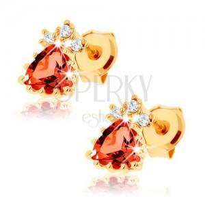 Bedugós fülbevaló 9K sárga aranyból - háromszög alakú piros gránát, cirkóniák