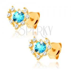 Fülbevaló 9K sárga aranyból - átlátszó cirkóniás szív körvonal, kék topáz