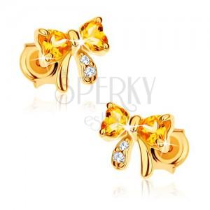 Fülbevaló 9K sárga aranyból - masni sárga citrin szívekkel, átlátszó cirkóniák