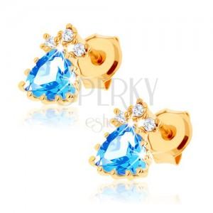 Csillogó fülbevaló 9K sárga aranyból - kék topáz háromszög, átlátszó cirkóniák