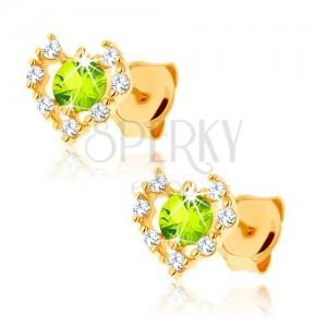 Fülbevaló 9K sárga aranyból - átlátszó cirkóniás szív körvonal, zöld olivin