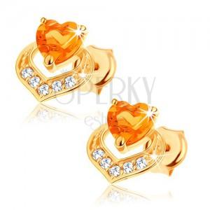 Fülbevaló 9K sárga aranyból - két egymást fedő szív, sárga citrin