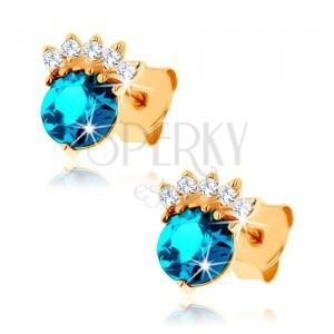 375 arany fülbevaló - ciróniás korona, kerek topáz kék színben