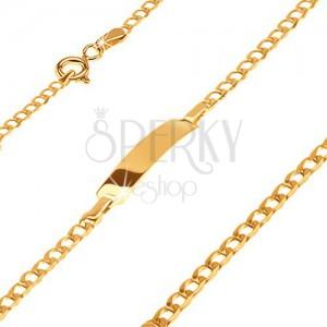 585 arany karkötő lemezzel - csillogó, apró, ovális szemek, 160 mm