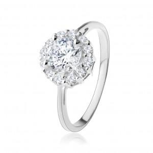Gyűrű 925 ezüstből - kerek, átlátszó cirkónia csillogó kontúrral