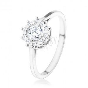 Eljegyzési gyűrű - 925 ezüstből, csillogó, átlátszó, cirkóniás napocska