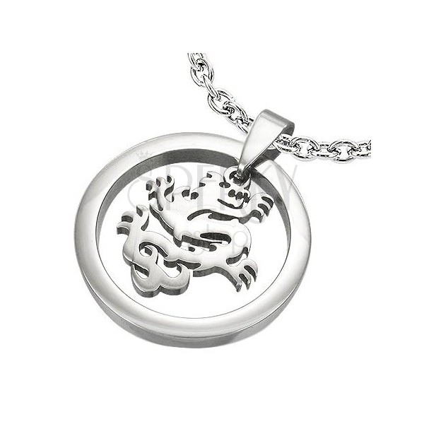 Sebészeti acél medál - karika és kínai sárkány