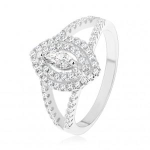 925 ezüst gyűrű, átlátszó magszem alakú cirkónia kettős kerettel