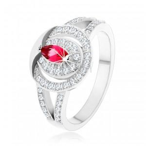 925 ezüst gyűrű, átlátszó cirkóniás karika rózsaszín cirkóniával