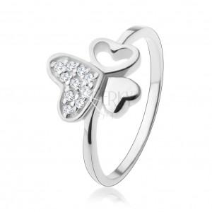 925 ezüst gyűrű, három különböző szív, átlátszó cirkóniák