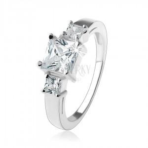 Csillogó eljegyzési gyűrű, átlátszó négyzetes cirkónia, 925 ezüst