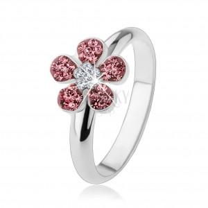 Gyűrű 925 ezüstből, élénk virág rózsaszín és átlátszó cirkóniákkal kirakva