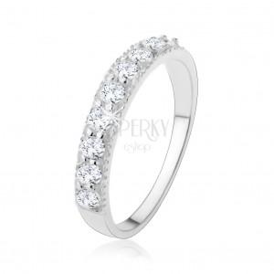 925 ezüst gyűrű - átlátszó, csillogó cirkóniás vonal