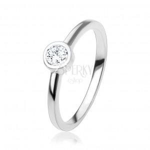 Eljegyzési gyűrű csillogó, kerek, átlátszó cirkóniával, 925 ezüst