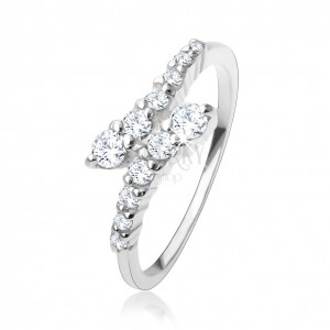925 ezüst gyűrű, hajlított, átlátszó cirkóniás vonal