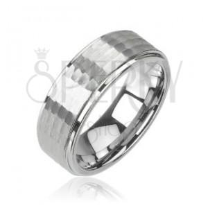 Volfrám gyűrű ezüst színben, csiszolt minta, 8 mm