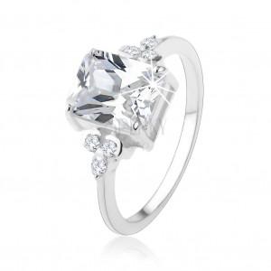 Gyűrű 925 ezüstből, masszív, átlátszó téglalap alakú cirkóniával