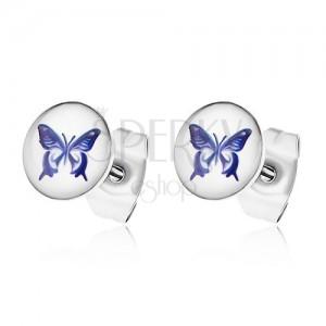 Fülbevaló sebészeti acélból, fehér alap lila lepkével