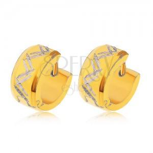 Fülbevaló 316L acélból arany színben, kettős cikk-cakk mintával