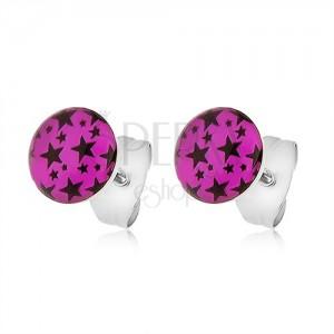 Acél fülbevaló rózsaszín kör fekete csillag lenyomatokkal
