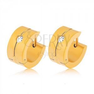 Fülbevaló sebészeti acélból arany színben, függőleges bemetszés, átlátszó cirkónia