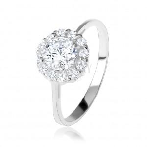 Eljegyzési gyűrű 925 ezüstből, kerek átlátszó cirkónia, csillogó keret