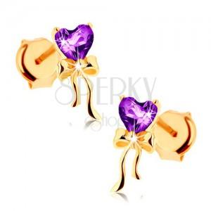 Fülbevaló 9K sárga aranyból, lila szívecske ametisztből, fényes masni