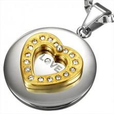 Nemesacél medál - ezüst körlap, arany szív, cirkóniák