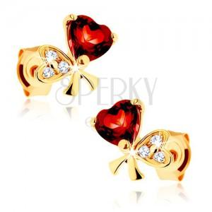 375 arany fülbevaló - masni két szívből, piros gránát, átlátszó cirkóniák