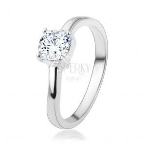 925 ezüst gyűrű, kerek átlátszó cirkóniával és finoman hullámos szárakkal