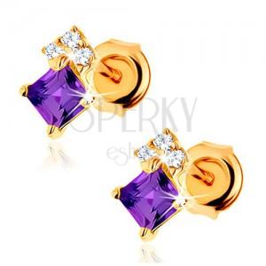 375 arany fülbevaló - ametiszt négyzet lila színben, cirkóniák