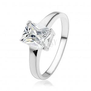925 ezüst gyűrű téglalap alakú átlátszó, csiszolt cirkóniával