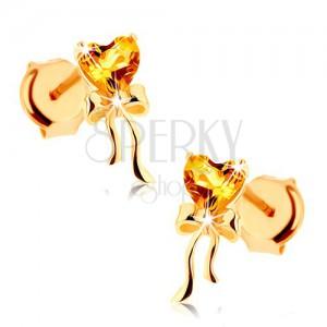 Fülbevaló 9K sárga aranyból - citrin szív sárga színben, fényes masni