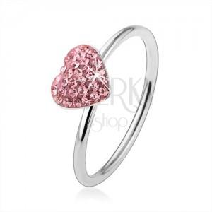 925 ezüst gyűrű világosrózsaszín cirkóniás szívvel