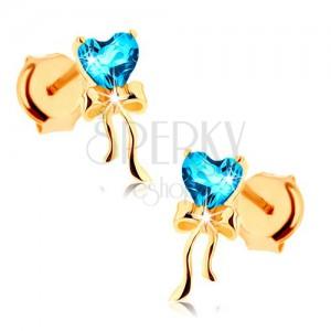 375 arany fülbevaló - fényes masni, kék, topáz szív