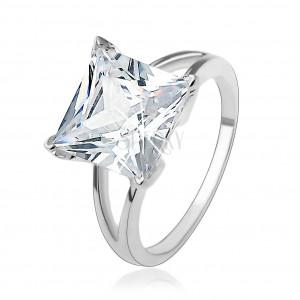 Eljegyzési gyűrű 925 ezüstből masszív négyzetes cirkóniával